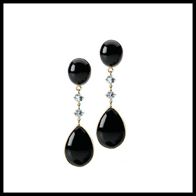 black jade gemstone drop earrings