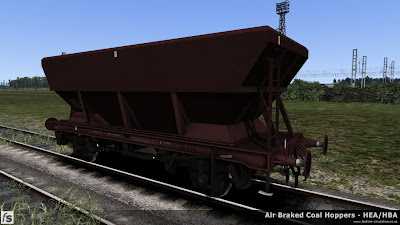 Fastline Simulation - HBA/HEA Coal Hoppers: HBA hopper with offset ladder in plain maroon livery.
