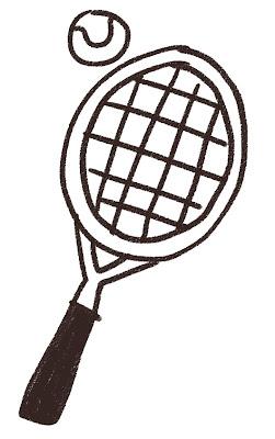 テニスラケットとボールのイラスト(スポーツ器具) モノクロ線画