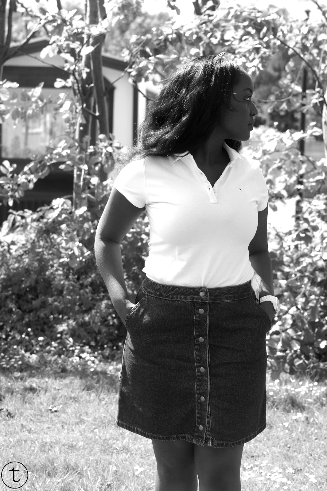 wearing denim skirt from asos and a white polo shirt outfit post