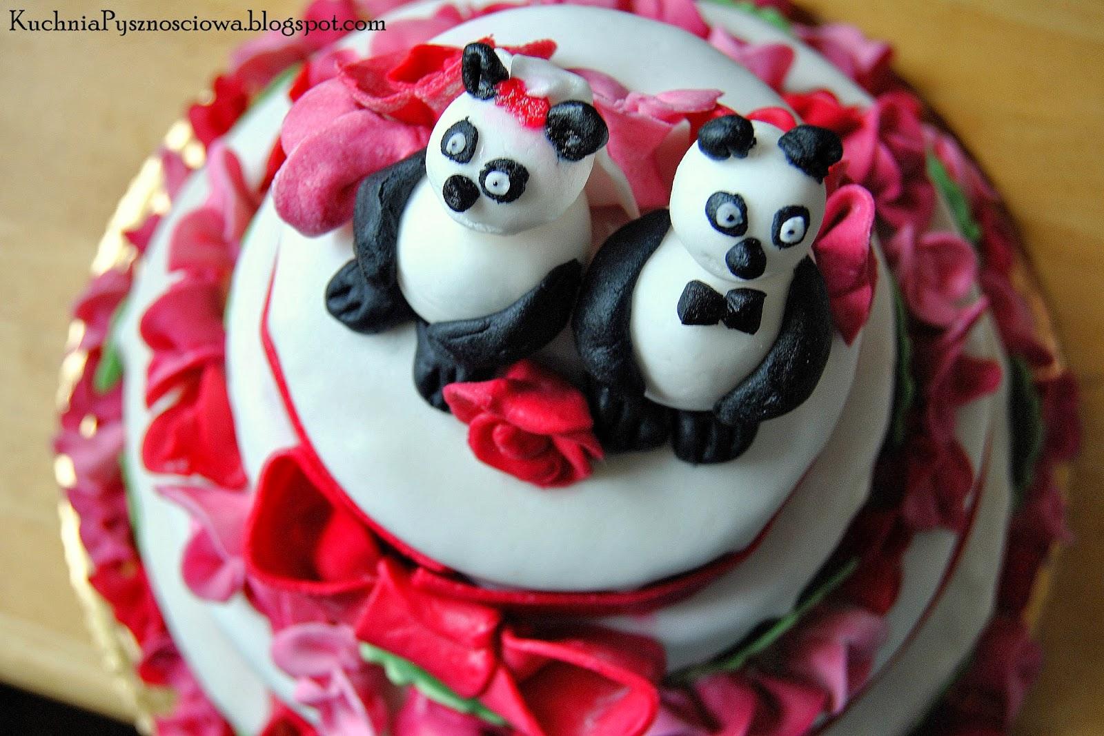 Piętrowy tort weselny z misiami panda