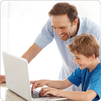 Parent helps child using QTalk Online Games