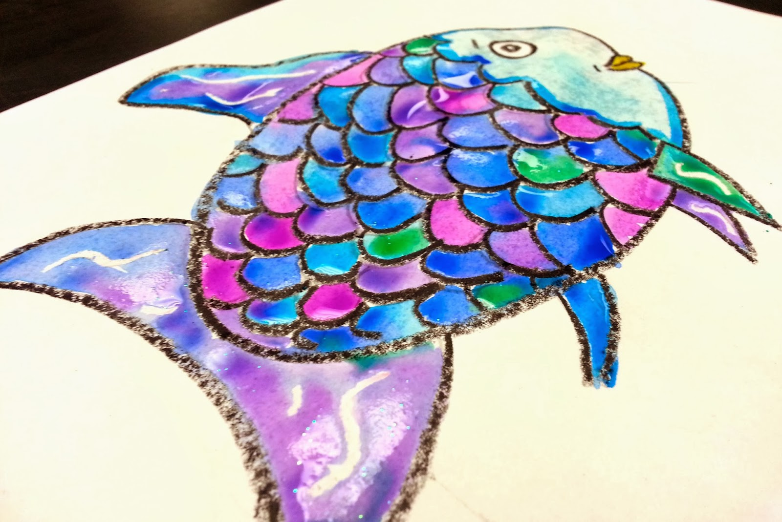 The rainbow fish 1st art with mrs nguyen for How to paint a fish