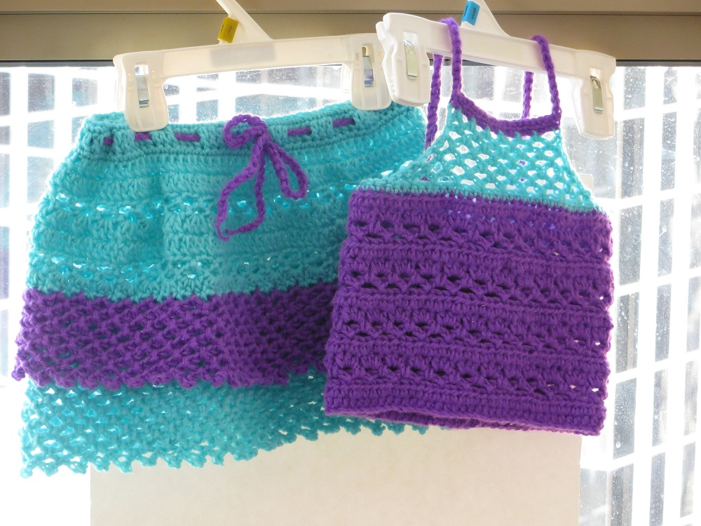 Free Crochet Pattern Child Skirt : Claire Skirt and Top, Crochet Pattern for Baby or Toddler ...