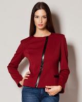 Jacheta moderna de culoare visiniu, cu fermoar ( )