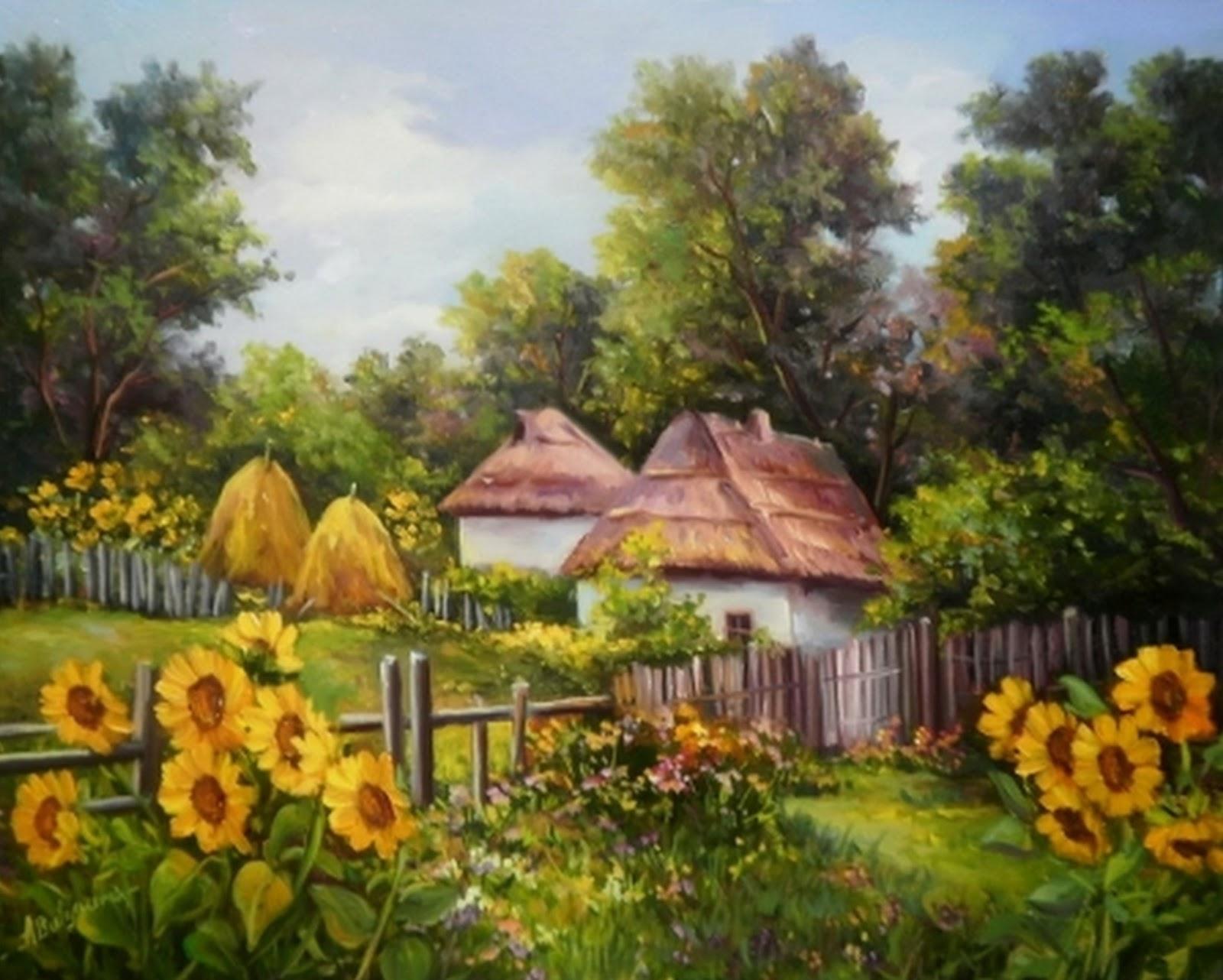 Cuadros modernos pinturas y dibujos paisajes al leo de - Paisajes de casas ...
