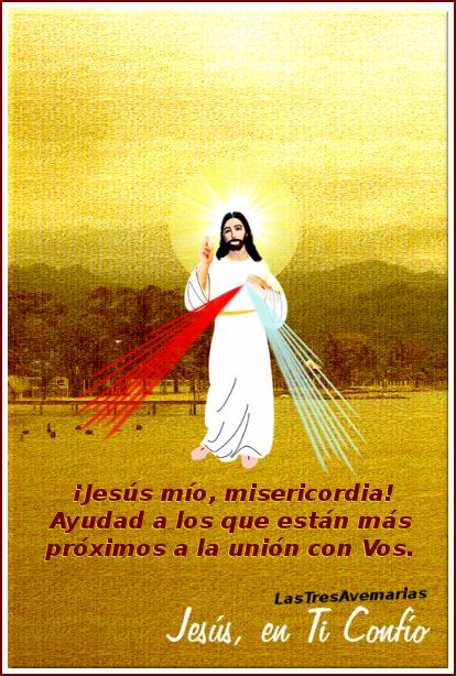 imagen de jesus misericordia con texto de peticion por almas en el purgatorio