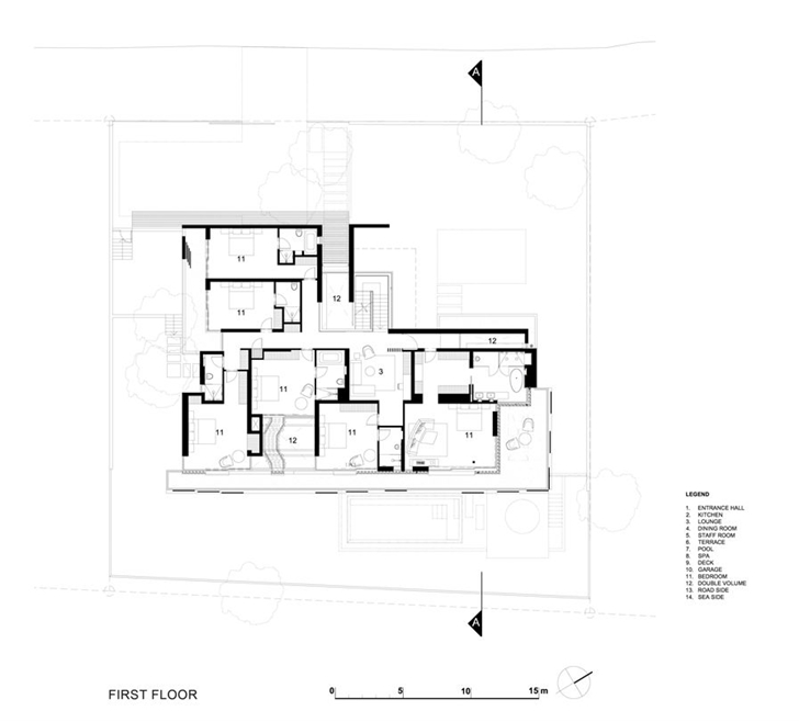 First floor plan in African modern villa in Durban by SAOTA