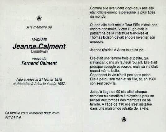 Bidprentje, Jeanne Calment 1875-1997