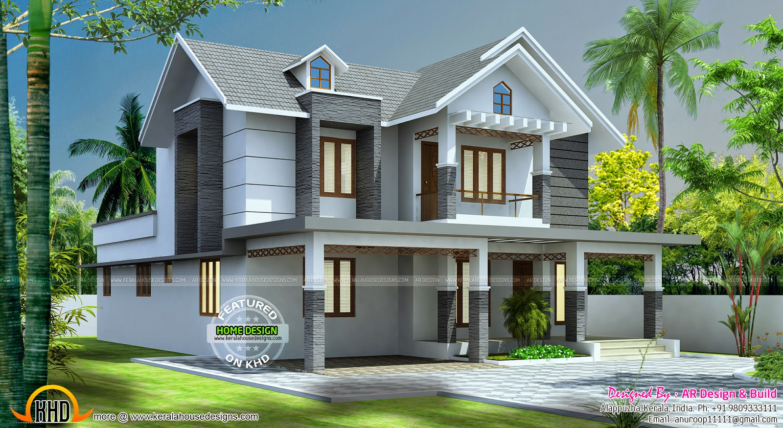 Beautiful 2545 sq ft home design kerala home design and for Beautiful home front design