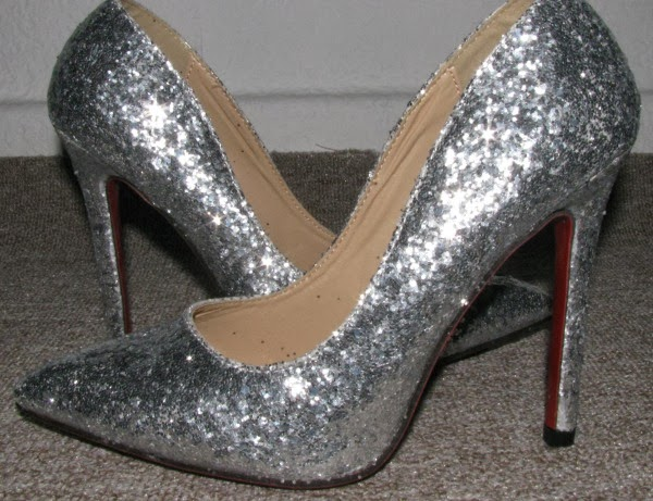 Sexy Pointed Toe Silver Sequins Slim Heel Glitter Pumps Louboutin Inspired