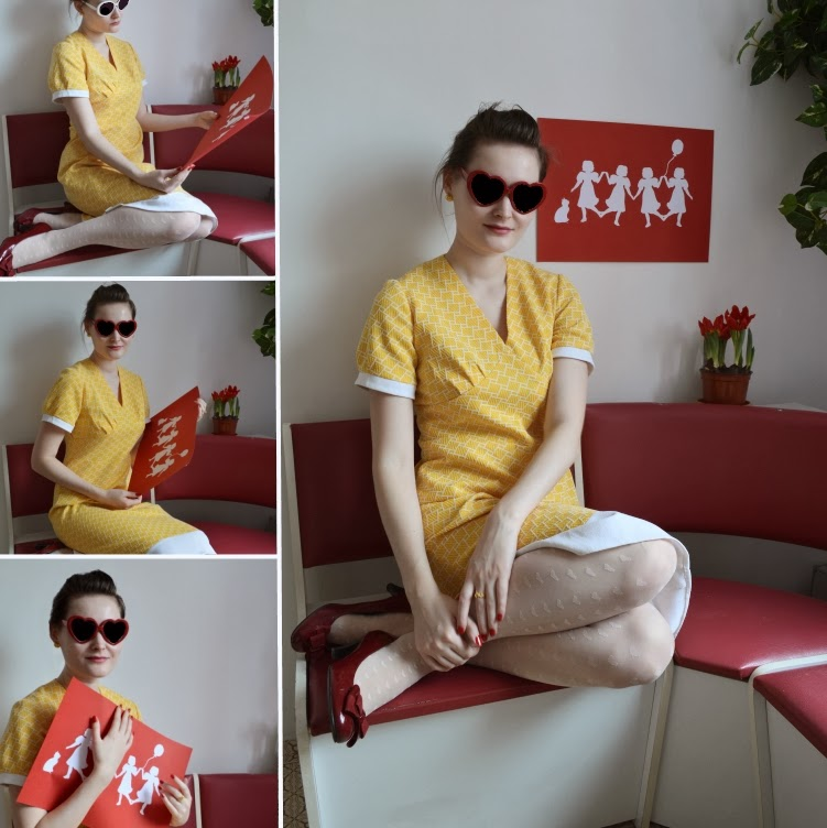 yellow retro dress red tulip 1960s