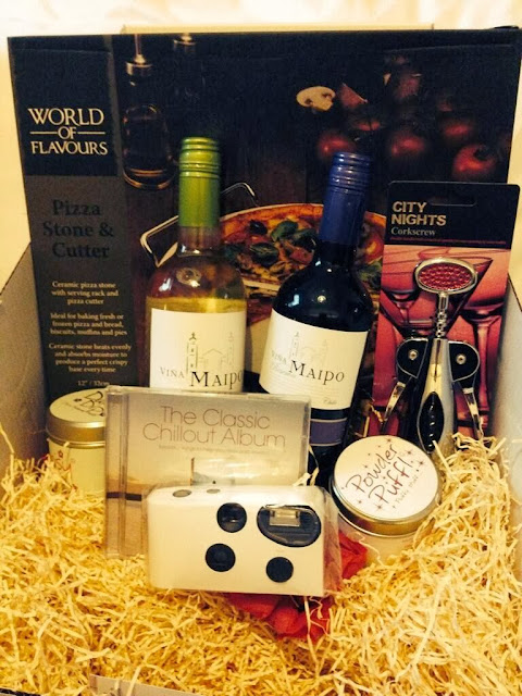 goodfellas chillax pack - wine, candles, disposable camera, pizza dish and cutter, chillout cd and bottle opener