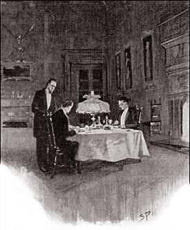 With rows of flaring torches to light it up, and the colour and rude hilarity of an old-time banquet, it might have softened; but now, when two black-clothed gentlemen sat in the little circle of light thrown by a shaded lamp, one's voice became hushed and one's spirit subdued.