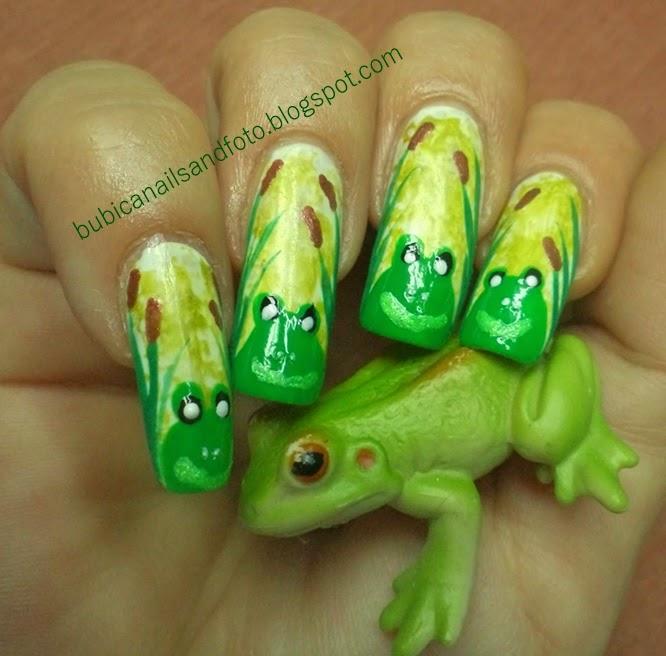 Frog Nail Art: Simple Nails: 797 Froggy Nails , Frog In Bamboo Canes Nail Art