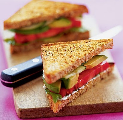 Sandwiches with Avocado, Lettuce and Tomato.