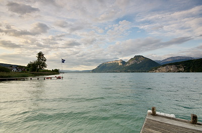 Annecy lake by a late summer day in Saint Jorioz