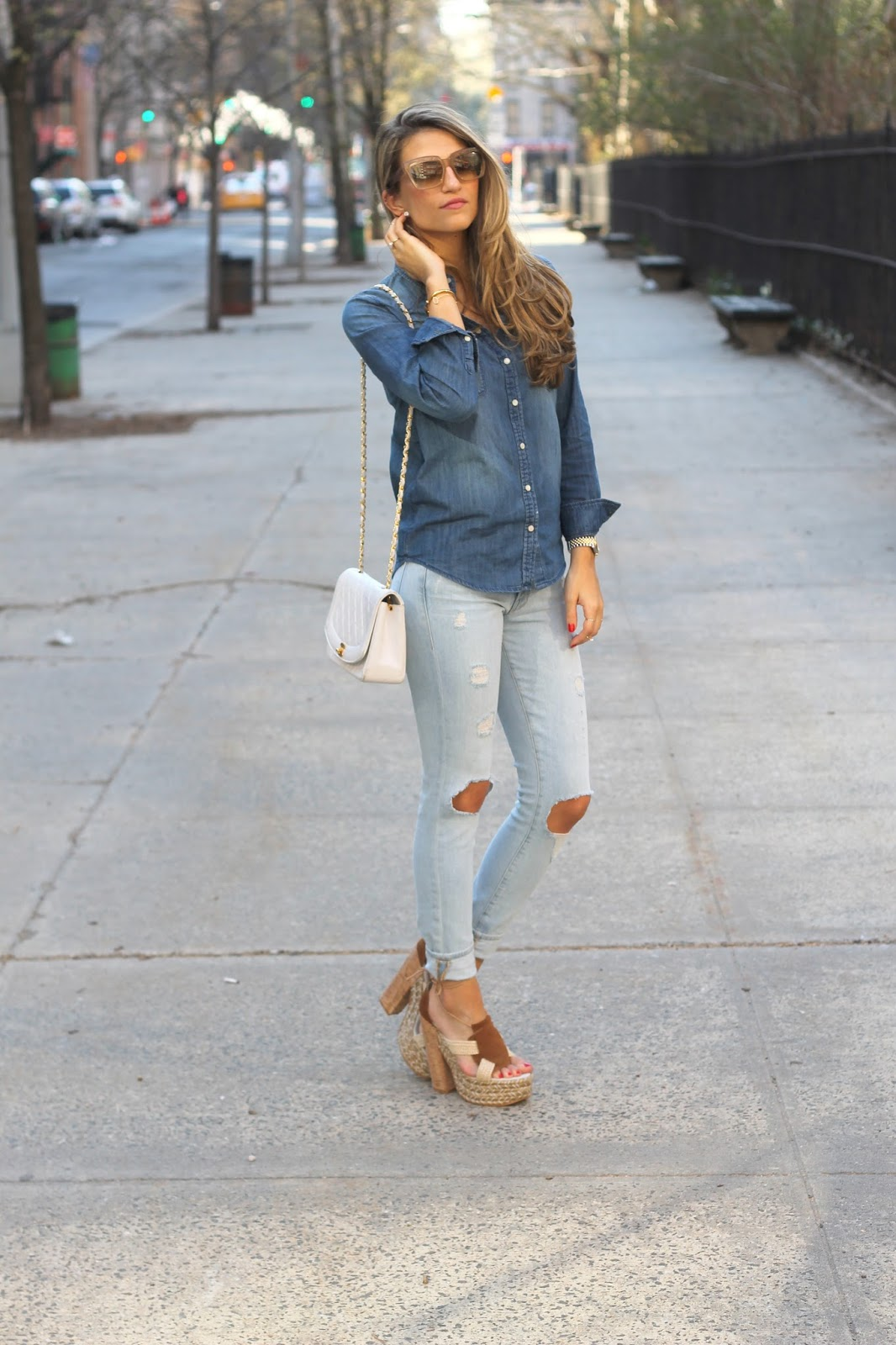 Frame Denim with Knee holes,  Free People High Society Platform Sandals