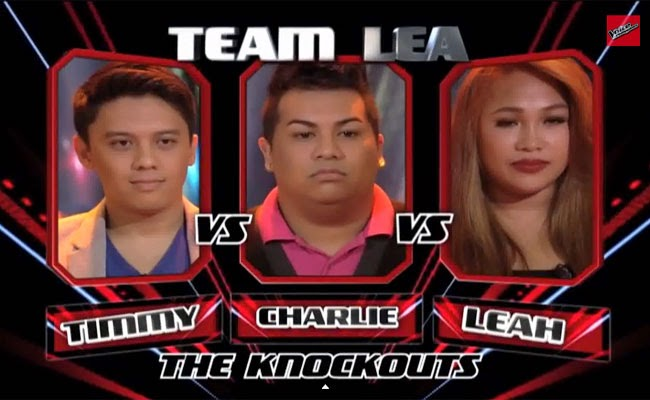 The Voice of the Philippines Season 2 Knock Out Rounds Team Lea Timmy Pavino, Charles Catbagan, Leah Patricio