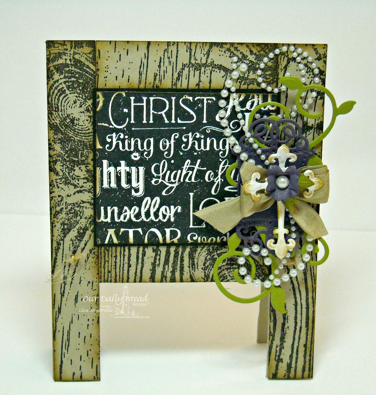 Stamps - Our Daily Bread Designs Chalkboard Word Collage, Wood Background, ODBD Custom Fancy Foliage Die, ODBD Custom Vintage Flourish Pattern Die,  ODBD Custom Ornamental Crosses Die