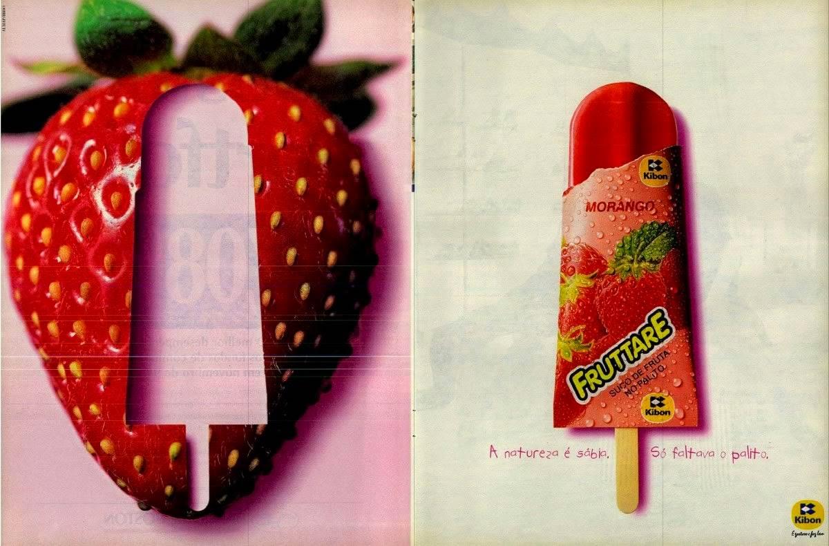 Propaganda do Picolé Fruttare da Kibon, em 1994: natureza sábia.
