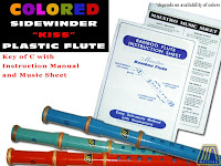 COLORED PLASTIC SIDEWINDER FLUTE KEY OF C