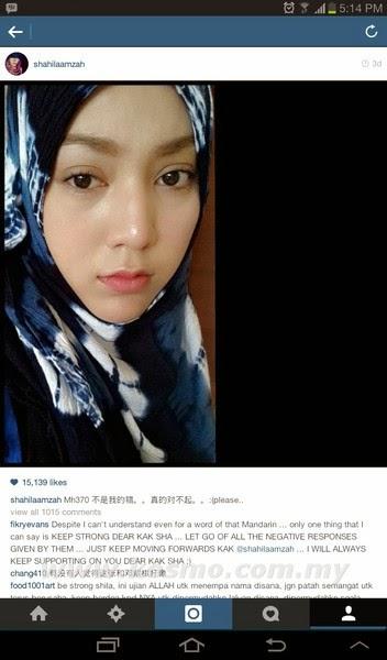 Shila Amzah - Tragedi MH370 bukan salah saya, shila amzah dikutuk peminat di China, gambar shila amzah