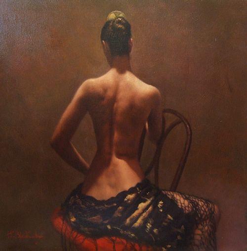 Hamish Blakely pinturas estilo clássico corpos realistas mulheres de costas ombros sensual