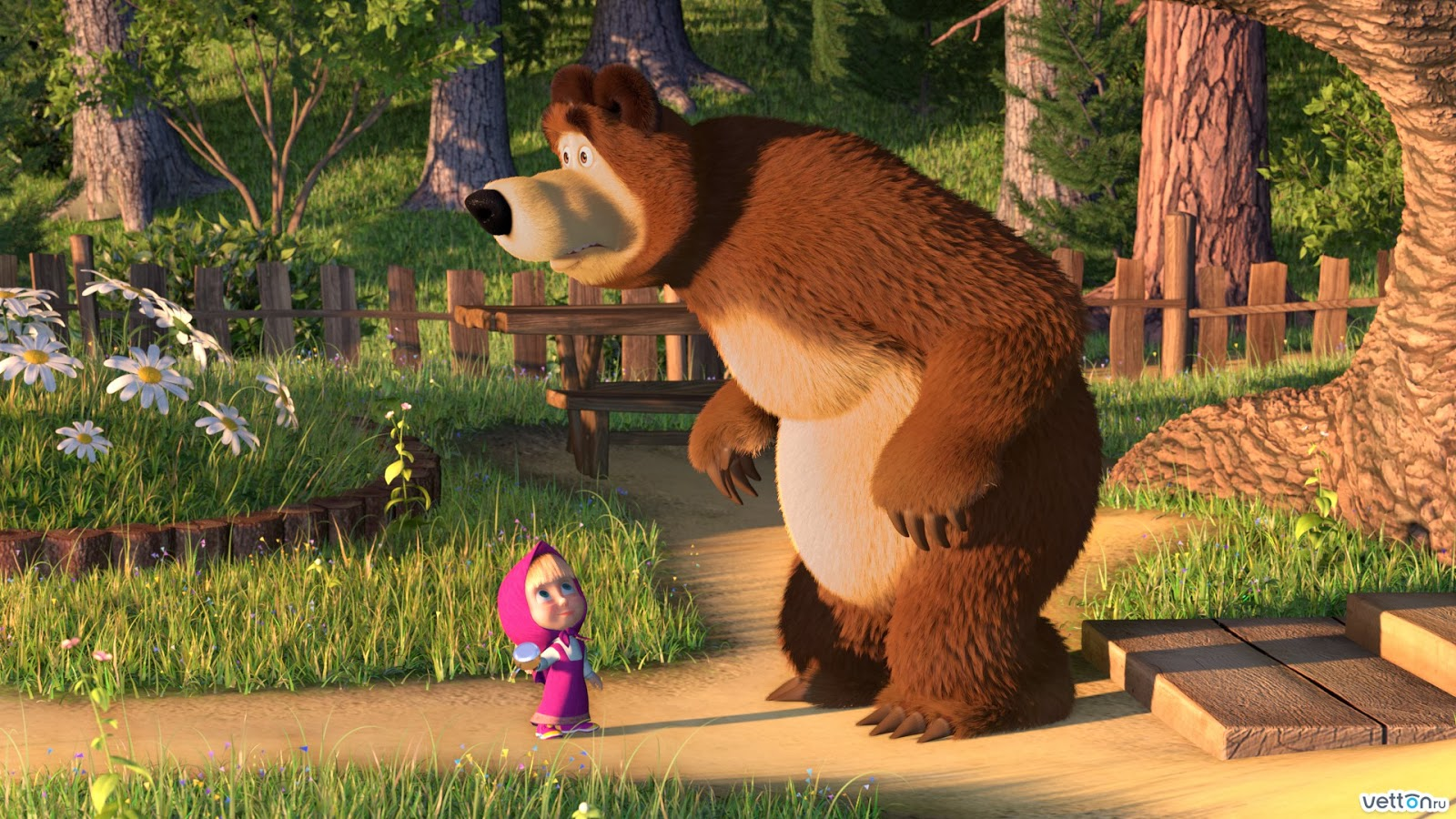Marsha and the bear 3D animation kids series film wallpaper