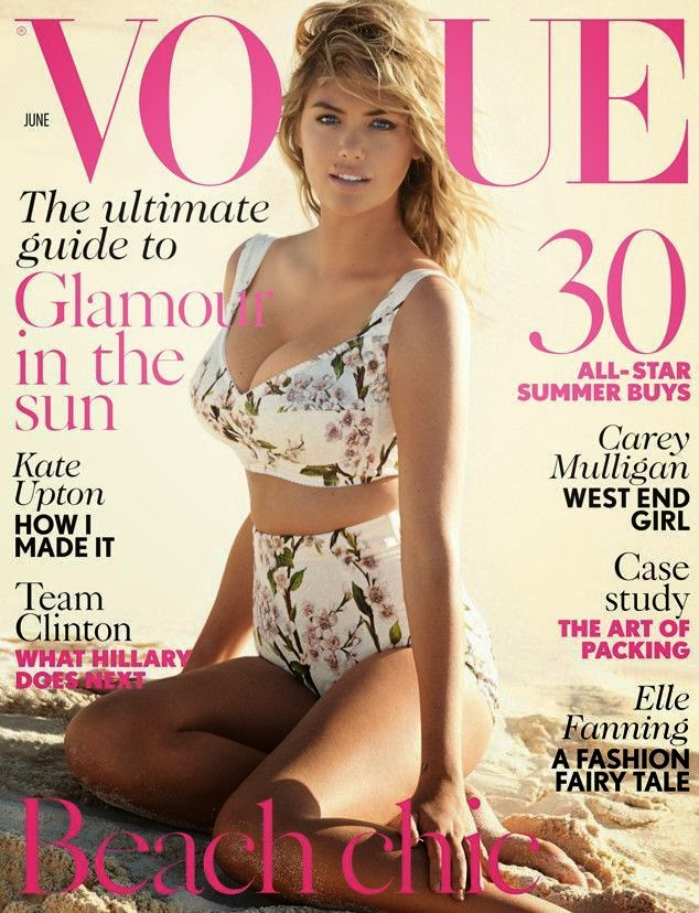 Here on British Vogue's June 2014 cover, the Sport's Illustrated model, Kate Upton poses pretty in a Dolce and Gabbana inspired bikini.