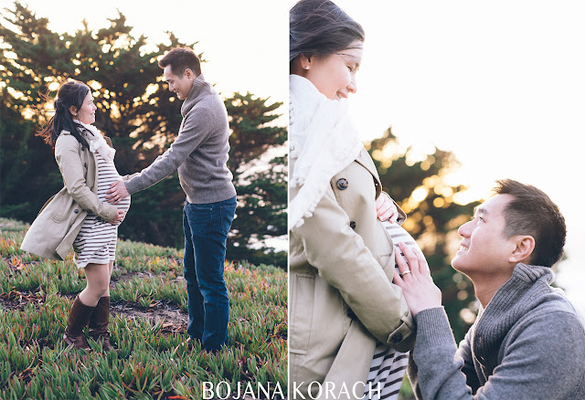 san francisco maternity session of a father to be touching and admiring the bump