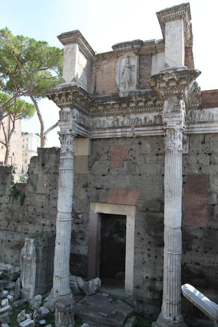 The remaining bases and columns which looks like a temple can be seen in the city of Rome, Italy