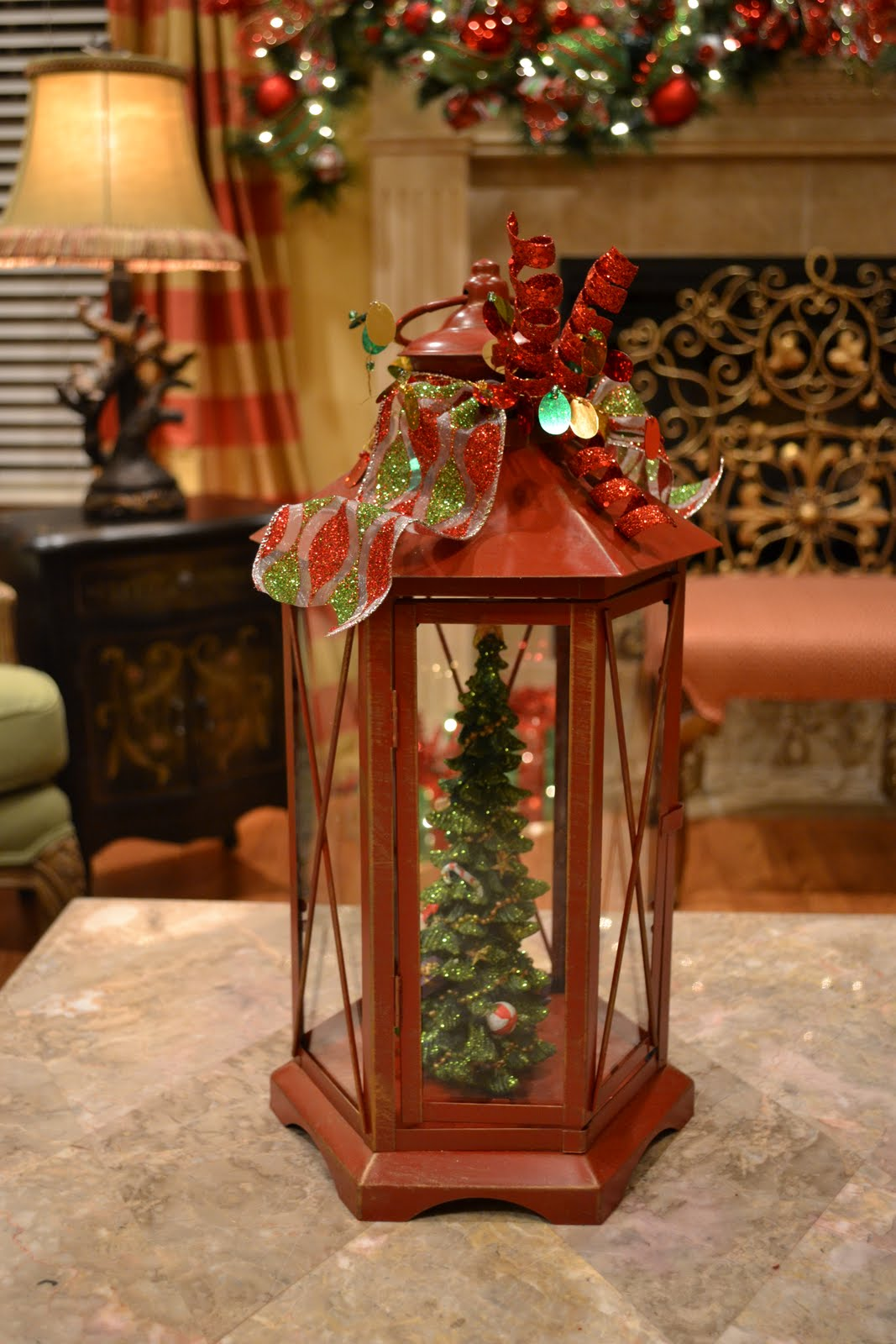 Kristen 39 s creations christmas tree lanterns Small christmas centerpieces