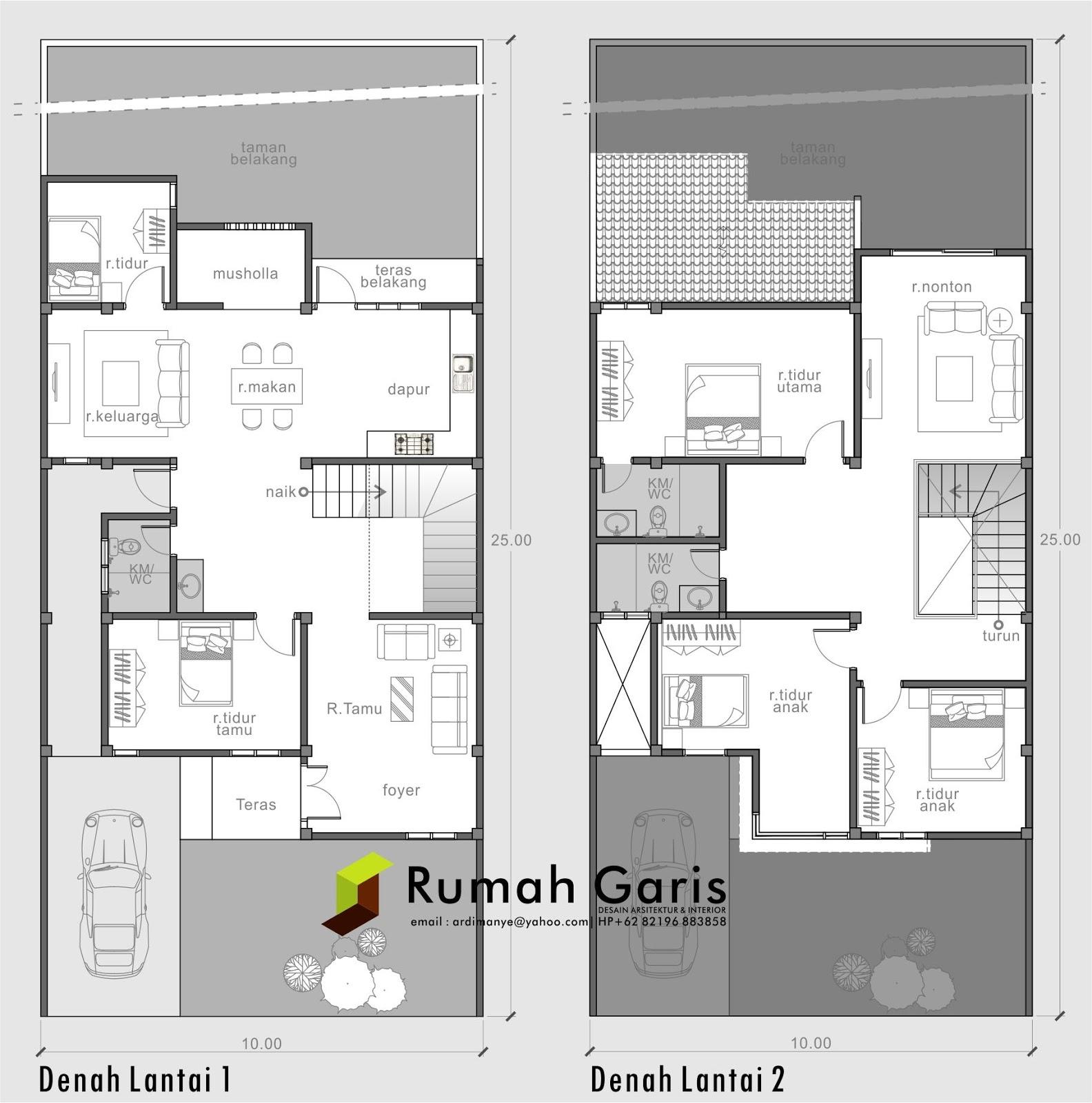 Desain Rumah Tinggal 2 Lantai Di Lahan 10x25 Meter Di