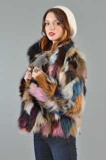 Vintage 1970's rainbow colored fox fur coat.