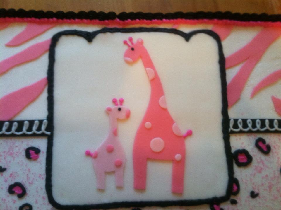 introducing pink safari girl babyshower cake