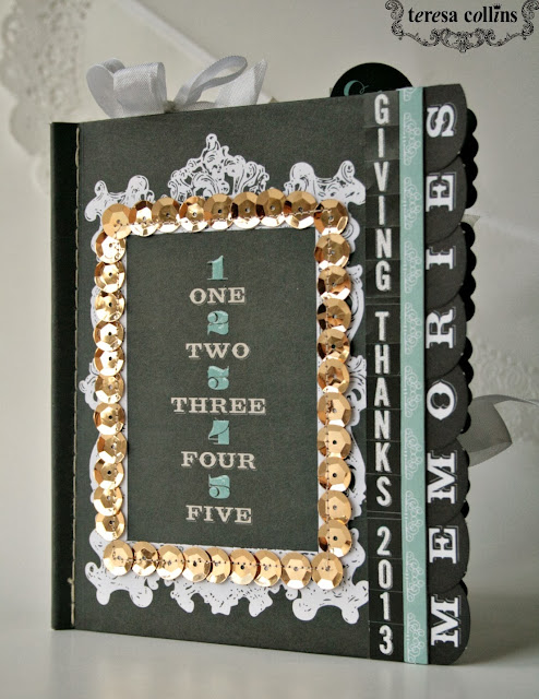 """Stitched journal book """"Giving Thanks"""" using Memorabilia by Cheri Piles"""