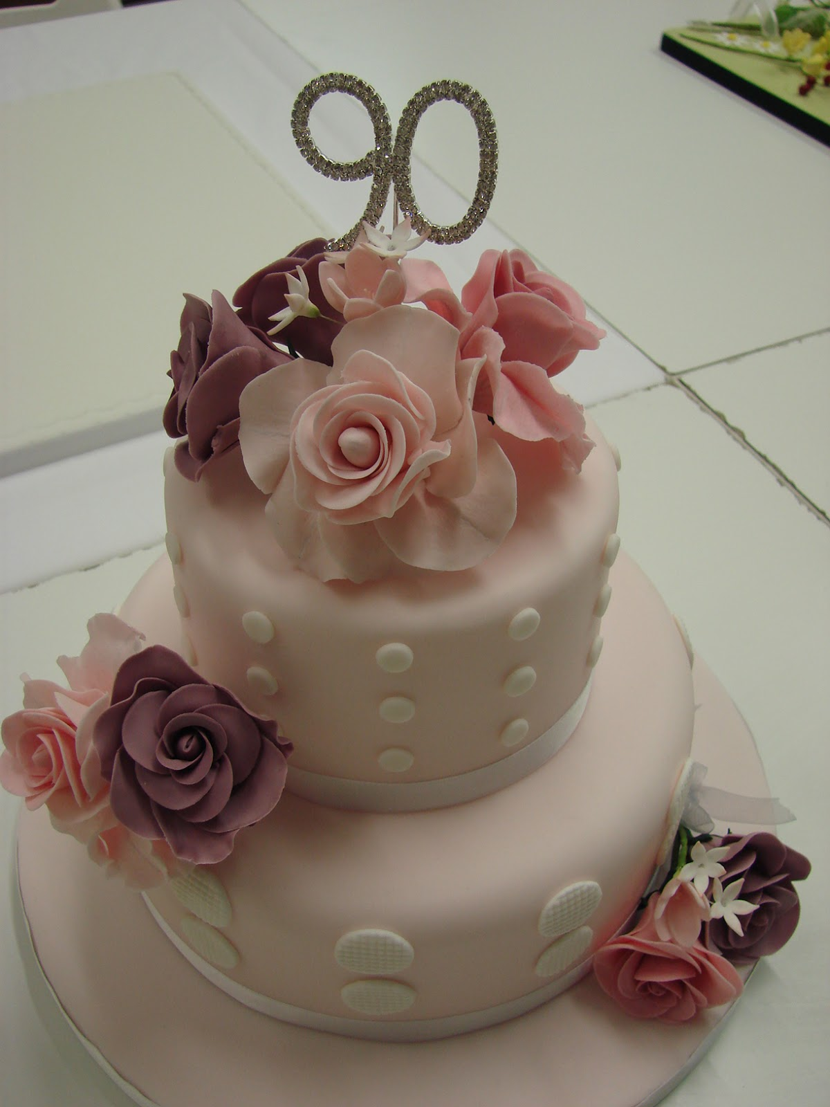 Sweet and Fancy 90th Birthday cake