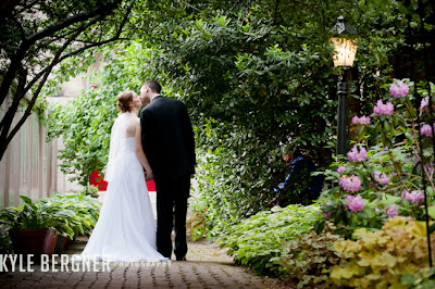 Bride and Groom in side garden at Chase Court in Baltimore