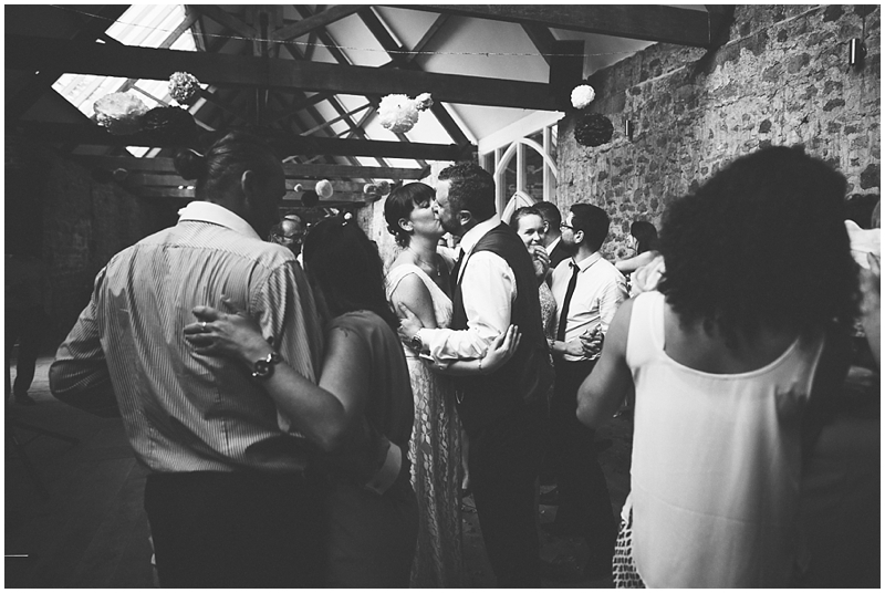 Bride and groom dancing at the Tithe Barn, Dorset