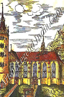 Cranach's engraving of 1509 shows Wittenberg Cathedral Church as it looked when Luther nailed his famous 95 Theses to the door. Thel5th-century building was largely destroyed by fire in 1760, and was subsequently rebuilt. The wooden doors no longer exist, but the bronze ones cast to replace them in the 19th minty bear the text of the Theses. The interior contains the tombs of Luther and Melanchthon.