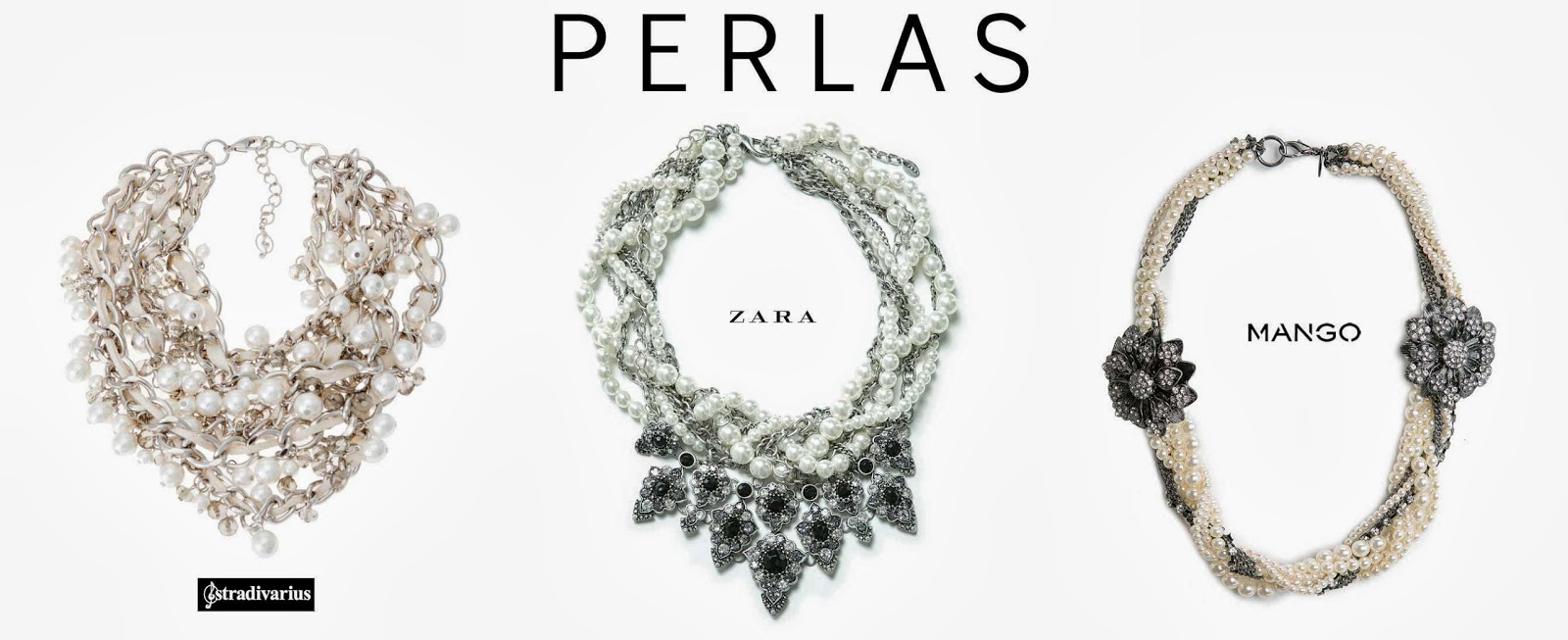 En Stradivarius localizamos el collar más conseguido, mezcla las perlas con cadenas plata y cinta de algodón, en Zara le dan un aire gótico combinándolo con