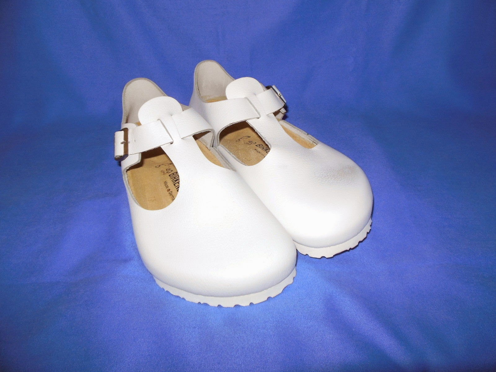 NEW BIRKENSTOCK LONDON WHITE LEATHER NURSING CLOGS WOMEN 9/MEN 7
