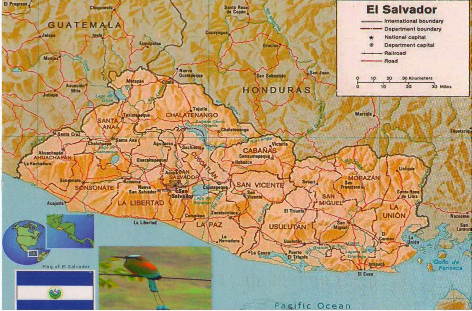 One postcard One world Map postcard from El Salvador