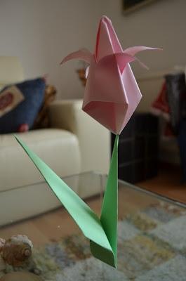 tulipán de origami / papiroflexia