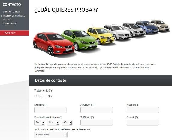 web de Seat con ficha de solicitud paraprueba de vehículo