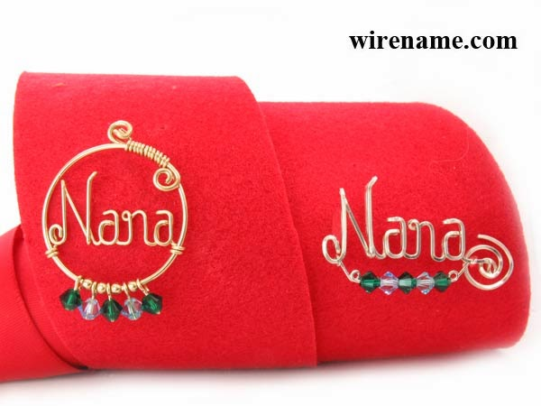 pin brooch Nana and Swirl Design pin Nana birthstones.
