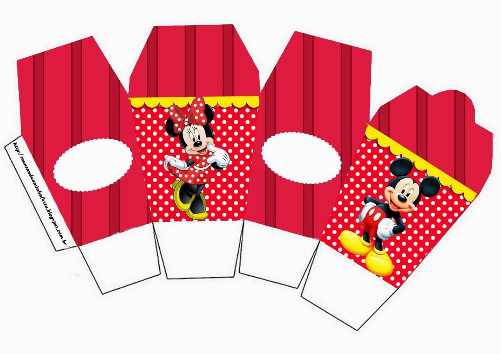 """Caja gratis de Minnie y Mickey tipo """"para comida china""""."""