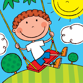 Picture of happy child swinging on swing from My Happy Book A children's kindle picture book with added activities