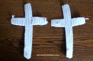 front and back pieces of crochet cross